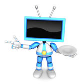 Chef Blue TV Character the right hand guides and the left hand i — Stock Photo