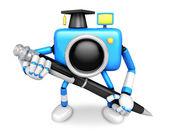 Blue Camera Character ballpoint pen a handwriting. Create 3D Cam — Stock Photo
