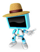 Sky Blue TV farmer character are kindly guidance. Create 3D Tele — Stock Photo