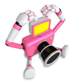 Pink Camera Character gesture of love in To the left toward. Cre — Stock Photo
