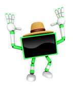 Green TV farmer Character dynamic jumping. Create 3D Television — Stock Photo