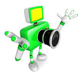 Nonsense Green Camera Character stretched out both hands. Create — Stock Photo