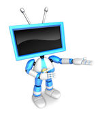 Blue TV character are kindly guidance. Create 3D Television Robo — Stock Photo
