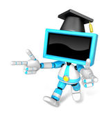 Cyan TV character are kindly guidance. Create 3D Television Robo — Stock Photo