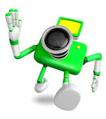 Rushing toward the left side of the Green Camera Character. Crea — Stock Photo