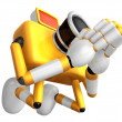 Stock Photo: Yellow CamerCharacter kneel in prayer. Create 3D CamerRobot