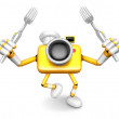 Stock Photo: Yellow CamerCharacter Cook camerin both hands to hold fork