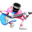 Stock Photo: To front toward pink CamerCharacter playing guitar
