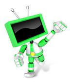 Yeşil tv karakteri ve boks oyun. 3d televizyon oluşturmak soymak — Stok fotoğraf