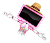 Pink TV robot flying towards the sky. Create 3D Television Robot — Stock Photo