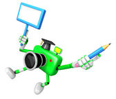 The left hand Holding the board Doctor Green Camera Character. T — Stock Photo