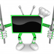 Stock Photo: Green TV Character Chef in both hands to hold Knife. Create 3D