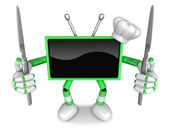 Green TV Character Chef in both hands to hold a Knife. Create 3D — Stock Photo