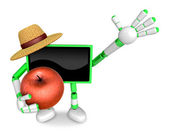 Green TV farmer mascot the right hand guides and the left hand i — Stock Photo