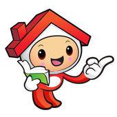 ガイドの家のマスコット、右手と左の手を保持しています。 — ストックベクタ