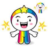 La mascota del arco iris es un saludo cortés. sueño de hadas carácter — Vector de stock