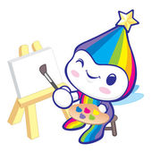 The Rainbow Mascot is happy painting. Dream of Fairy Character D — Stock Vector
