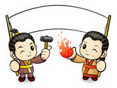 Blacksmith couple in South Korea making the knife. Korean Tradit — Stock Vector