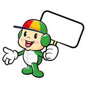 La mascotte di tartaruga tenendo un bordo. traffico e strada de carattere — Vettoriale Stock