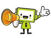 Television Mascot the hand is holding a loudspeaker. Appliances — Stockvector