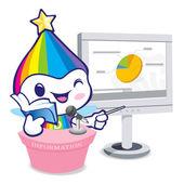 The Rainbow Mascot is doing the presentation. Dream of Fairy Cha — Stock Vector