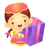 Girl Mascot the hand is holding a big box. Korea Traditional Cul — Stock Vector