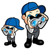 Father and son are monitored with binoculars. Work and Job Chara — Stock Vector