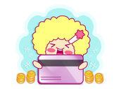 Enjoyable shopping girl. Style Girl Character Design Series. — Stock Vector