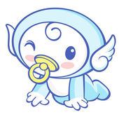 The Cherub Mascot is crawling around the room. Angel Character D — Stock vektor