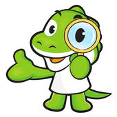 Dinosaur mascot examine a with a magnifying glass. Animal Charac — Stock Vector