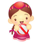 Girl mascot holding a traffic signal is prohibited signs. Korea — Stock Vector