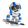The writing with a pencil a Blue Robot. Create 3D Humanoid Robot — Foto de Stock