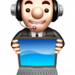 3D Business man Mascot to promote Laptop. Work and Job Character — Zdjęcie stockowe