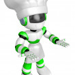 Flexibility as possible a sets of Green robot Mascot. Create 3D — Stock Photo