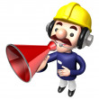 The Construction site man in to promote Sold as a loudspeaker. W — Stock Photo
