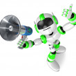 图库照片: Green robot in to promote Sold as loudspeaker. Create 3D
