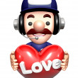 3D Service mCharacter holding hearts. Work and Job Charac — Stock Photo #34205497