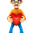 Father Mascot holding hearts. 3D Family and Children Charact — Stock Photo #34206123
