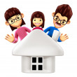 Flexibility as possible a sets of 3D Family Mascot. 3D Family an — Stock Photo