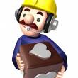 Flexibility as possible a sets of Construction site man Characte — Stock Photo