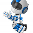 Flying Blue Robot carrying a Briefcase. Create 3D Humanoid Robot — Stock Photo