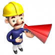 The Construction site man in to promote Sold as a loudspeaker. W — Foto Stock