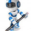 The writing with a pencil a Blue Robot. Create 3D Humanoid Robot — Zdjęcie stockowe