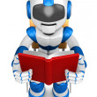 Blue robot character is sitting and reading a book. Create 3D Hu — Stock Photo