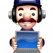 3D Service men Mascot to promote Laptop. Work and Job Character — Stok Fotoğraf #34206751
