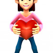 Mother Mascot holding hearts. 3D Family and Children Charact — Stock Photo #34207017