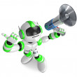 Foto Stock: Green robot in to promote Sold as loudspeaker. Create 3D