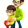 3D Father and Son Mascot. 3D Family and Children Character Desig — Stock Photo