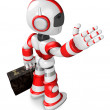 Foto Stock: Red robot right hand guides and left hand is holding b