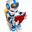 Blue robot character is sitting and reading a book. Create 3D Hu — Foto de Stock